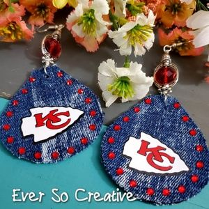 Jewelry - Upcycle Demin Kansas City Chief Earrings